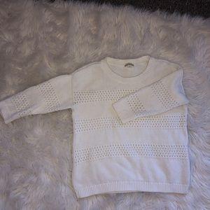 Textured white sweater
